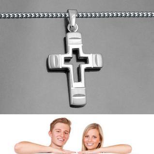Männer Frauen Kinder Kreuz Anhänger aus Echt Silber 925 mit Kette Länge wählbar - Vorschau 1