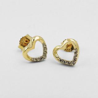 Mädchen Damen Herz Ohrstecker weiße Zirkonia Kinder Ohrringe Echt Gold 333 8 Kt