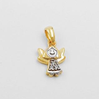 Baby Kinder moderner Schutz Engel mit Zirkonia Echt Gold 333 Kette Silber 925 VG