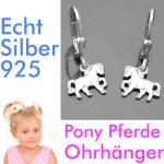 Pferde Pony Mädchen Ohrringe Kinder Ohrhänger Hänger aus Echt Silber 925 rhod.