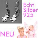Teddy Bär Mädchen Ohrringe Kinder Bärchen Ohrhänger Hänger aus Echt Silber 925