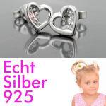 1 Paar Damen Premium Herz Ohrstecker Ohrringe weiße Zirkonia ECHT SILBER 925 Neu
