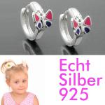 1 Paar Mädchen Klapp- Creolen Ohrringe mit Schmetterling lila rosa SILBER 925