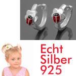 1 Paar Mädchen Scharnier- Creolen Marienkäfer Ohrringe mit Blume Echt Silber 925