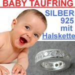 Baby Taufe Zirkonia Taufring mit Kette Echt Silber 925