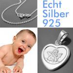 Kinder Engel Herz Anhänger Silber