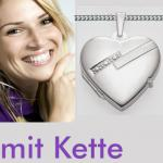Damen Herz Medaillon Amulett Kette Silber