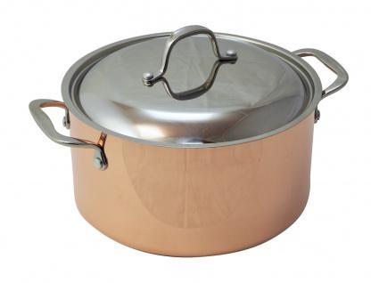 B'Chef Kupfertopf 24 cm = 5, 5 Liter mit Deckel - Stahlboden = Induktionsgeeignet