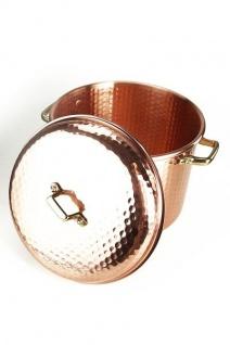 """"""" CopperGarden"""" Kupfertopf 8L, 24 cm, gehämmert mit Griffen (Messing) & Deckel"""