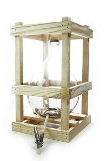 Glasballon im Holzgestell - 10 Liter mit Ablaufhahn & Korken - Vorschau 1