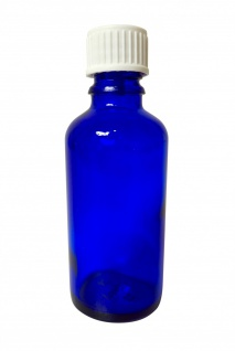 Blauglasflasche 100 ml mit DIN18 Gewinde & Deckel