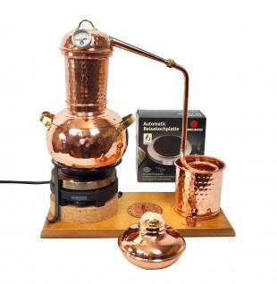 """"""" CopperGarden"""" Destillieranlage ARABIA 2 Liter Tischdestille mit Kochplatte, Aromasieb & Thermometer"""