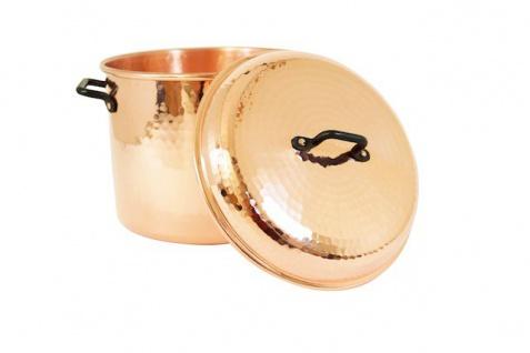 """"""" CopperGarden®"""" Kupfertopf 8L, (24 cm) gehämmert mit Griffen (Eisen) & Deckel"""