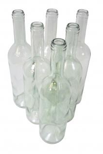 6 x Weinflasche Bordeaux 0, 75L, Klarglas