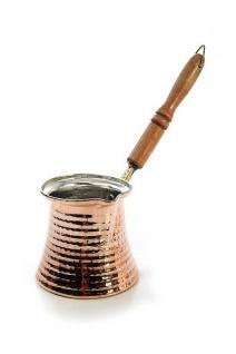 """"""" CopperGarden®"""" Mokkakanne aus Kupfer - groß mit Holzgriff"""