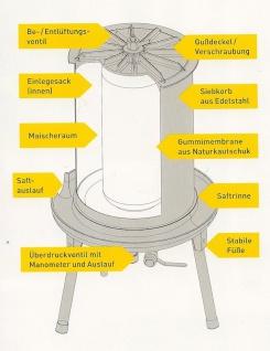 """"""" Speidel"""" hydraulische Obstpresse - 40 Liter - Edelstahl - Vorschau 4"""