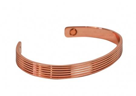 Armreif aus poliertem Kupfer ? Muster mit feinen Streifen ? mit zwei Magneten