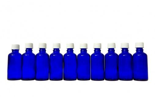 10 x Blauglasflasche 50 ml mit DIN18 Gewinde & Deckel