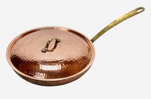 """"""" CopperGarden®"""" 24 cm Kupferpfanne mit Stiel & Deckel - verzinnt"""