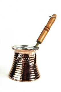 """"""" CopperGarden®"""" Mokkakanne aus Kupfer - mittlere Größe mit Holzgriff"""