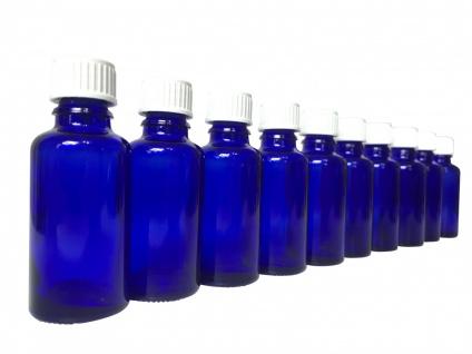 10 x Blauglasflasche 30 ml mit DIN18 Gewinde & Deckel