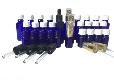 Sparset Blauglas: 30 x Flaschen mit Deckeln, Pipetten & Zerstäuber