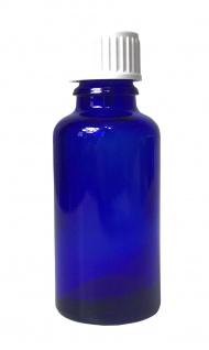 Blauglasflasche 30 ml mit DIN18 Gewinde & Deckel