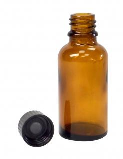 Braunglas-Flasche 30 ml mit DIN18 Gewinde & Deckel