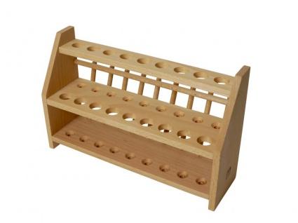 Reagenzglasgestell aus Holz ? XL für 27 (18 +9) Reagenzgläser