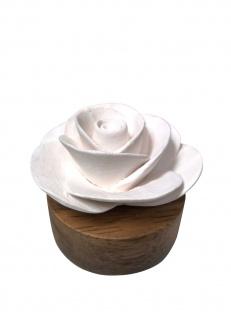 """Duftstein """" Rose"""" aus weißer Keramik ? natürliche Raumbeduftung"""