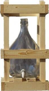 Glasballon im Holzgestell - 10 Liter mit Ablaufhahn & Korken - Vorschau 4