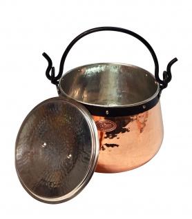 """"""" CopperGarden"""" Kupferkessel 10 Liter verzinnt mit Deckel - Hexenkessel"""