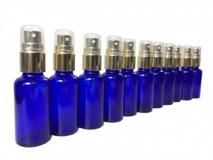 10 x Blauglasflasche 50 ml mit DIN18 Gewinde & Deckel & Sprühkopf