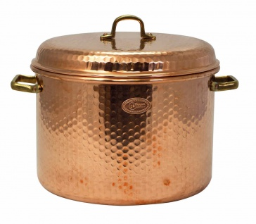 CopperGarden® Kupfertopf 12L, gehämmert mit Griffen & Deckel