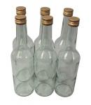 6 x Spirituosenflasche ? 0, 35 Liter ? Klarglas mit Schraubdeckel