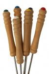 6 Stück Fonduegabeln mit Holzgriff, verchromt, 24 cm lang