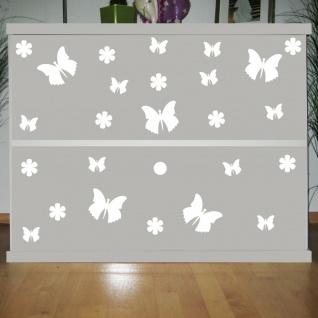 25 Aufkleber Tattoo weiß Schmetterlinge & Blumen Auto Möbel Schrank Deko Folie