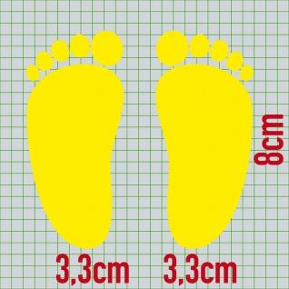 1 Paar 2 Füße 8cm gelb Baby Kinder Fuß Abdruck Aufkleber Tattoo Möbel Deko Folie - Vorschau 2