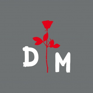 Enjoy the silence Rose 10cm rot + DM 5cm weiß Auto Aufkleber Folie Depeche Mode