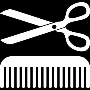 2 Stück 30cm weiß Schere Kamm Aufkleber Tattoo Deko Folie Friseur Haarstudio