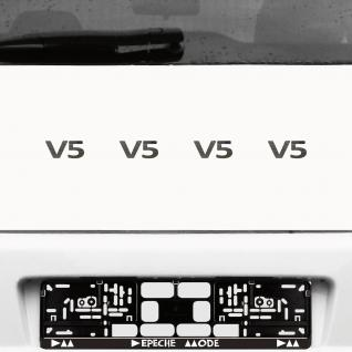 4 Stück V5 chrom Aufkleber Tattoo Auto Deko Folie Motor Hinweis Zeichen Symbol
