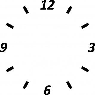 Uhr Zifferblatt komplett am Stück d = 25cm schwarz Aufkleber Tattoo Deko Folie