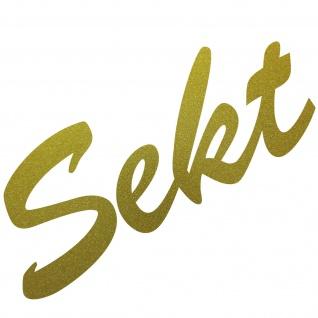 Sekt 16cm gold Aufkleber Tattoo Schriftzug Schreibschrift Kühlschrank Deko Folie - Vorschau 1