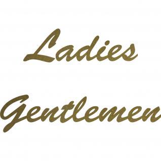 Ladies Gentlemen Aufkleber Tattoo Schriftzug Tür Hinweis Folie WC Toilette 00