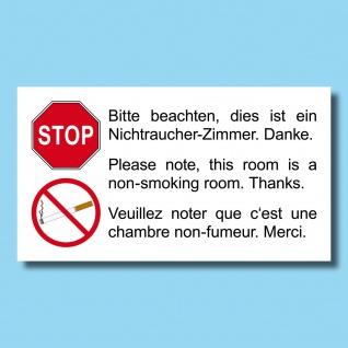 50 Aufkleber 9cm Sticker Hotelzimmer Hotel Pension Hinweis Nichtraucher Zimmer
