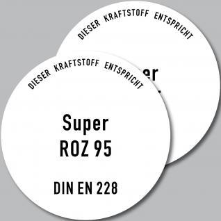 2 Aufkleber Sticker Tankdeckel Hinweis Achtung SUPER oktan ROZ 95 BENZIN Tanken