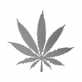 1 Hanf Blatt 20cm silber THC Gras Pflanze Marihuana Aufkleber Tattoo Deko Folie