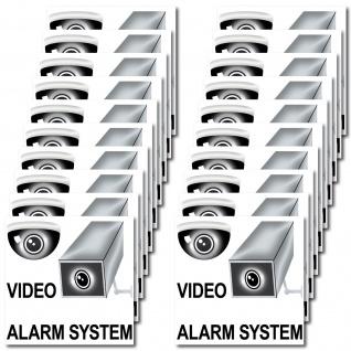 20 Aufkleber 5cm Video Alarm System cctv Kamera überwacht Sticker für Außenseite