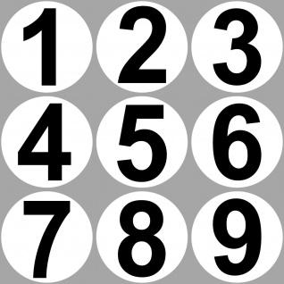 Ziffern 1 bis 9 Aufkleber 20cm rund Werkstatt Tor Garage Mülltonne Auto Sticker