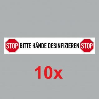 10 Aufkleber 20cm Sticker Bitte Hände Desinfizieren Corona Hinweis 4061963068724